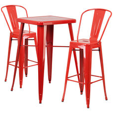 """Commercial Grade 23.75"""" Square Red Metal Indoor-Outdoor Bar Table Set with 2 Stools with Backs"""