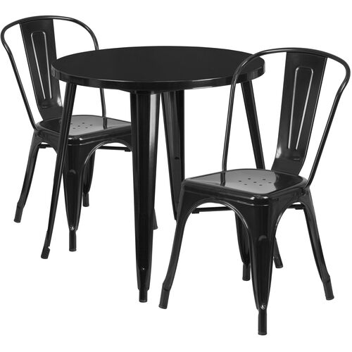 """Our Commercial Grade 30"""" Round Black Metal Indoor-Outdoor Table Set with 2 Cafe Chairs is on sale now."""