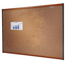 Quartet Bulletin Board - 4' x 3' - Light Cherry Frame