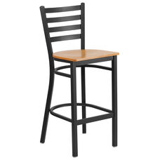 Black Ladder Back Metal Restaurant Barstool with Natural Wood Seat