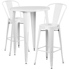 "Commercial Grade 30"" Round White Metal Indoor-Outdoor Bar Table Set with 2 Cafe Stools"