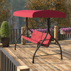 3-Seat Outdoor Steel Converting Patio Swing Canopy Hammock with Cushions / Outdoor Swing Bed (Maroon)