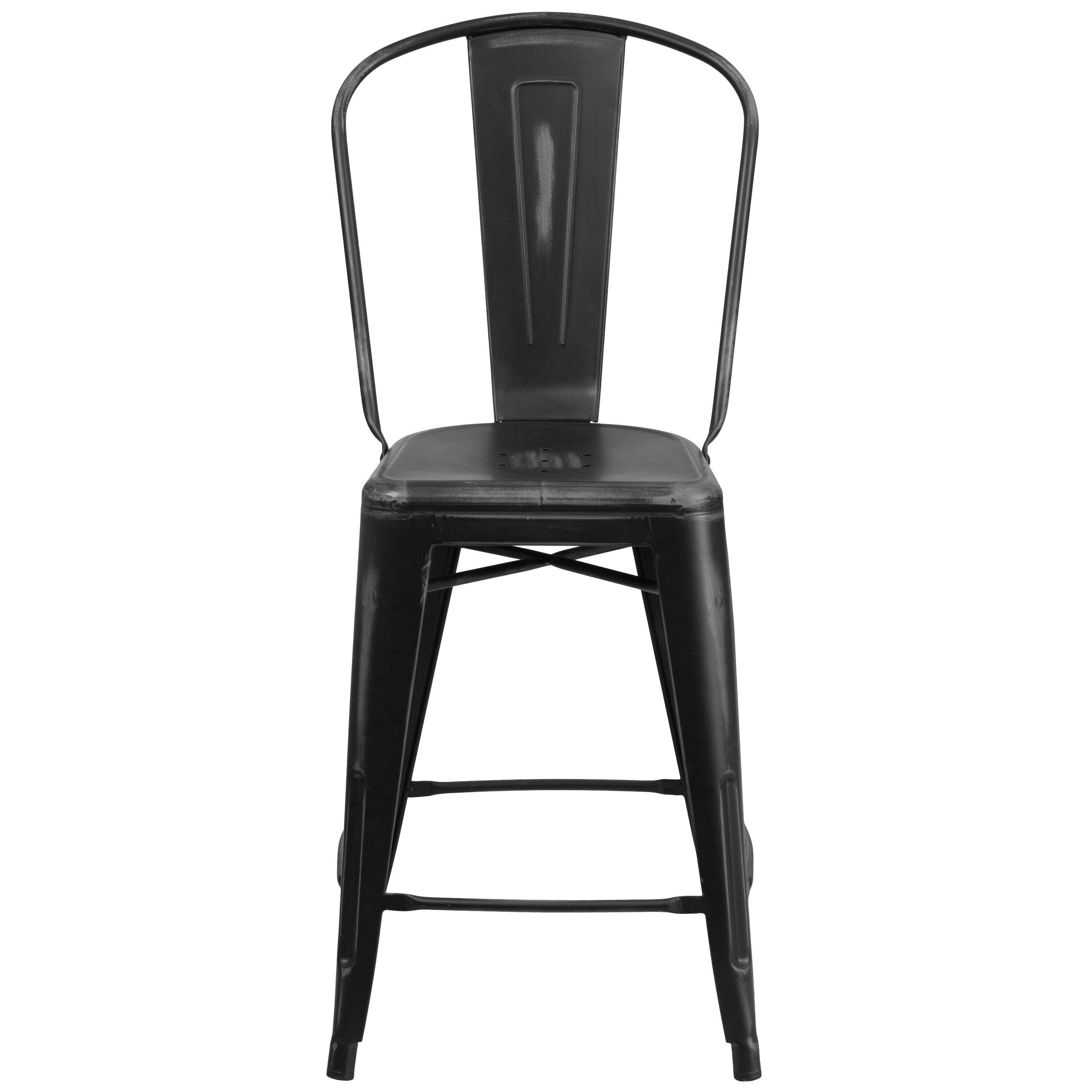 Charmant ... Our 24u0027u0027 High Distressed Black Metal Indoor Outdoor Counter Height Stool  With Back