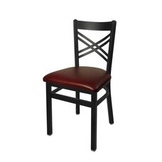 Akrin Metal Cross Back Chair - Burgundy Vinyl Seat