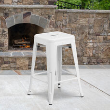 """Commercial Grade 24"""" High Backless White Metal Indoor-Outdoor Counter Height Stool with Square Seat"""