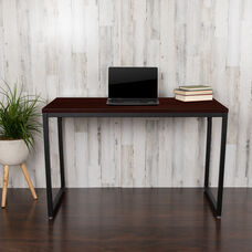 "Commercial Grade Industrial Style Office Desk - 47"" Length (Mahogany)"