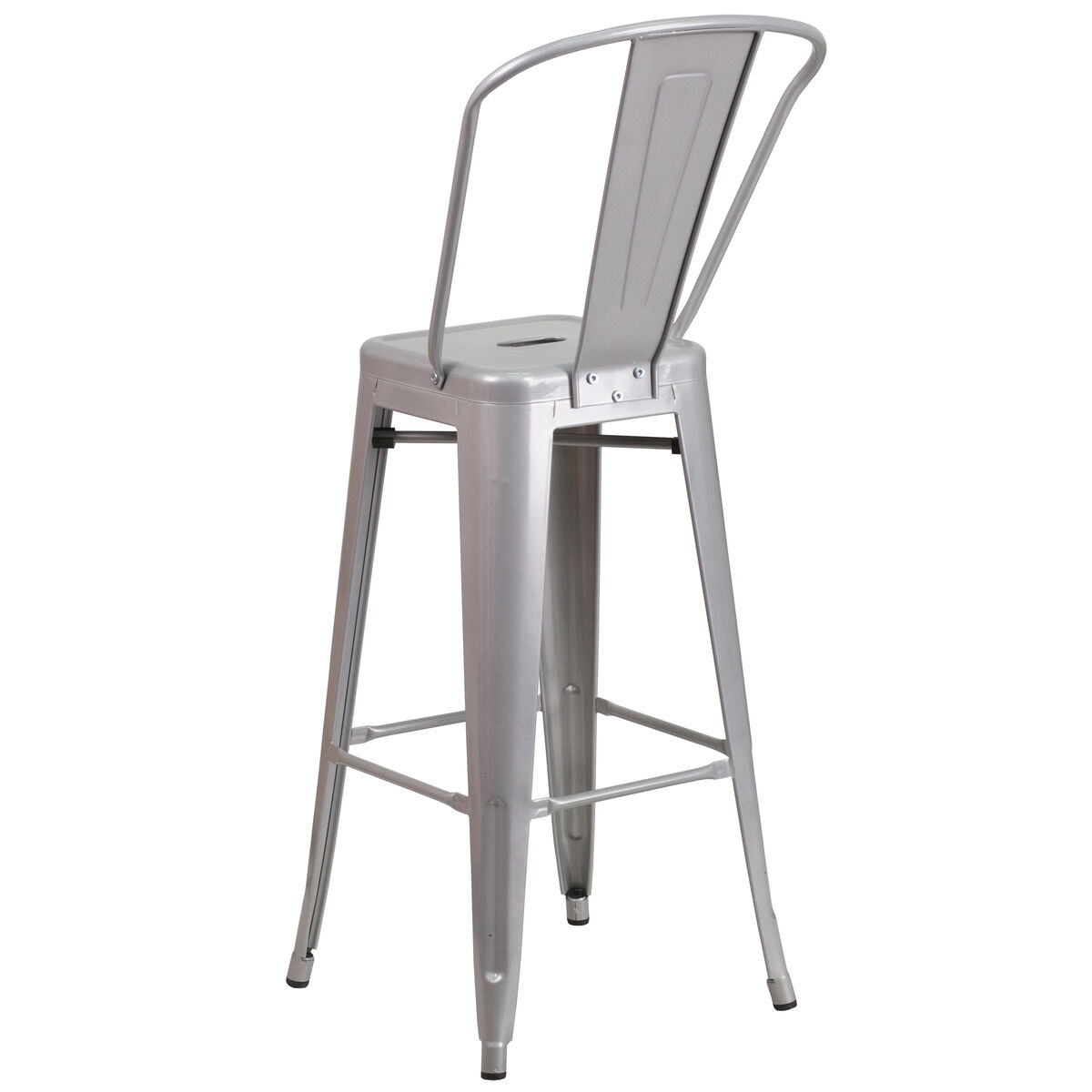 Our 30 High Silver Metal Indoor Outdoor Barstool With Back Is On