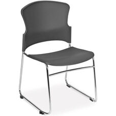 Multi-Use Stack Chair with Plastic Seat and Back - Gray