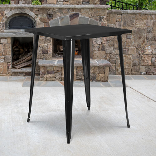 """Our Commercial Grade 31.5"""" Square Black Metal Indoor-Outdoor Bar Height Table is on sale now."""