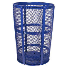 Expanded Vertically Ribbed Durable Metal Receptacle - Blue