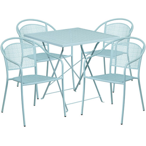 SQ Sky Blue Fold Patio Set COSQFCHRSKYGG - Metal folding patio table and chairs