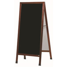 Extra Large A-Frame Sidewalk Board with Black Melamine Marker Board and Cherry Stain Finished Solid Red Oak Frame - 30