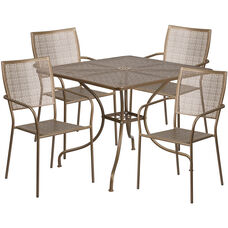 "Commercial Grade 35.5"" Square Gold Indoor-Outdoor Steel Patio Table Set with 4 Square Back Chairs"