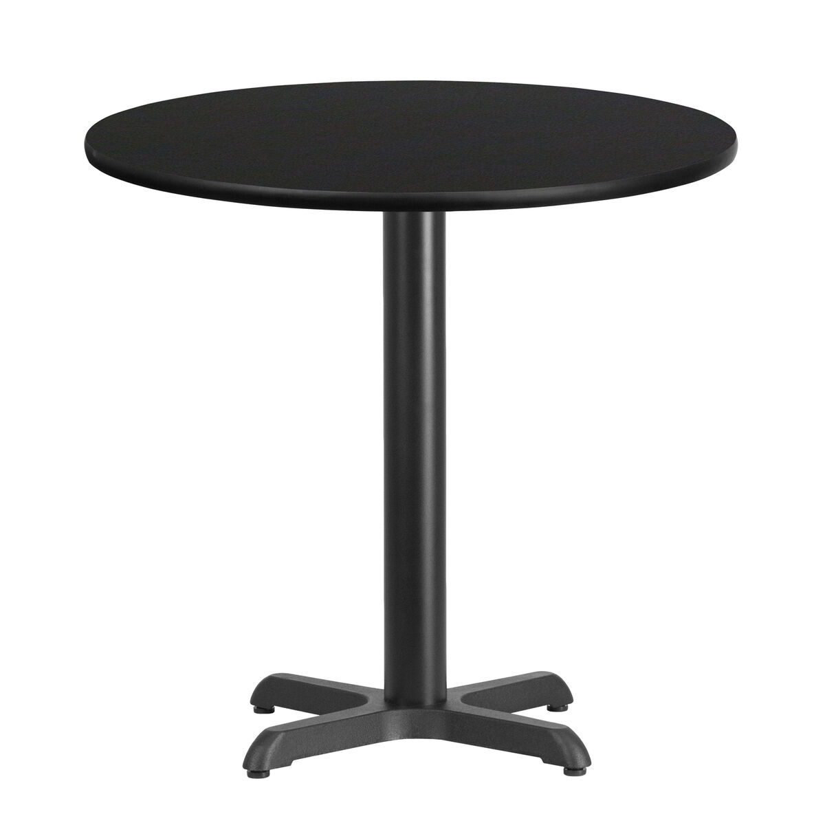 30 Round High Top Restaurant Cafe Bar Table And Cherry: 30'' Round Black Laminate Table Top With 22'' X 22'' Table