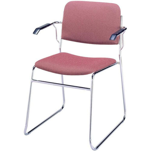 Our 300 Series Stacking Chrome Steel Frame Guest Armchair with Sled Base and 2