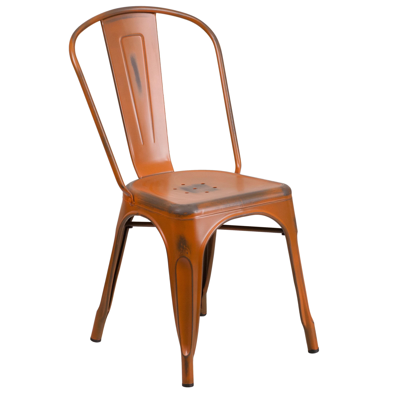 Distressed Orange Metal Indoor Outdoor Stackable Chair