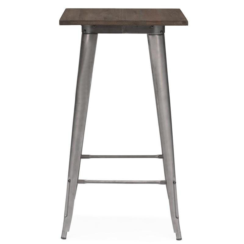 ... Our Dreux 42u0027u0027H Clear Gunmetal Steel Bar Table With Elm Wood Top Is ...