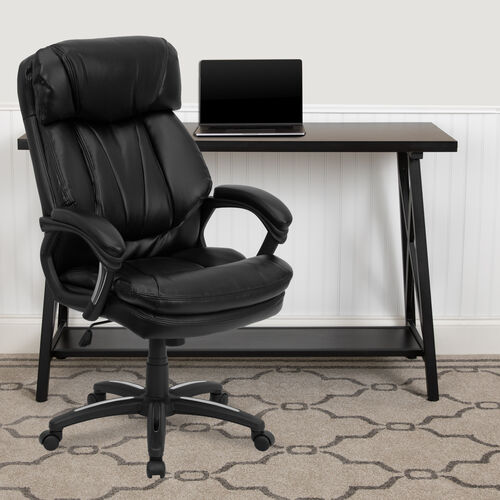 Our High Back Black LeatherSoft Executive Swivel Ergonomic Office Chair with Plush Headrest, Extensive Padding and Arms is on sale now.