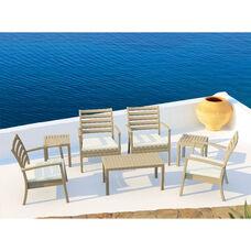 Artemis XL Polypropylene Club Seating Set with 7 Pieces - Dove Gray