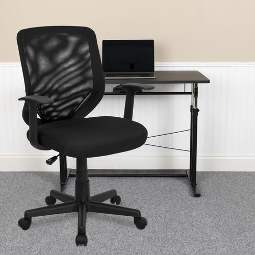 Our Mid-Back Black Mesh Tapered Back Swivel Task Office Chair with T-Arms is on sale now.