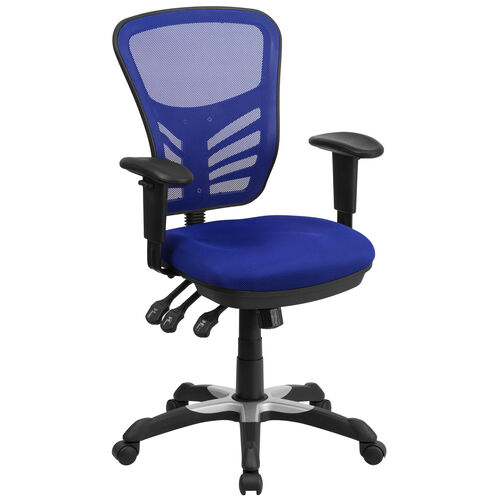 Our Mid-Back Blue Mesh Multifunction Executive Swivel Chair with Adjustable Arms is on sale now.