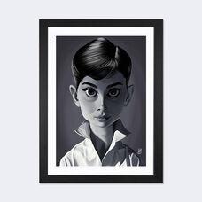 Vintage Celebrity Sunday Series: Audrey Hepburn by Rob Snow Artwork on Fine Art Paper with Black Matte Hardwood Frame - 24