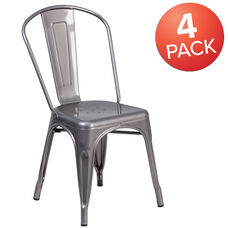 4 Pack Clear Coated Metal Indoor Stackable Chair