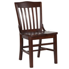 Walnut Finished School House Back Wooden Restaurant Chair