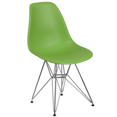 Elon Series Green Plastic Chair with Chrome Base