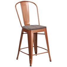 "24"" High Copper Metal Counter Height Stool with Back and Wood Seat"