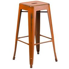 "Commercial Grade 30"" High Backless Distressed Orange Metal Indoor-Outdoor Barstool"