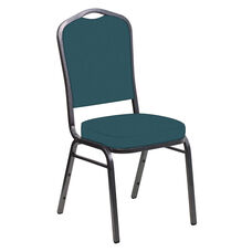 Embroidered E-Z Wallaby Turquoise Vinyl Upholstered Crown Back Banquet Chair - Silver Vein Frame