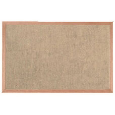 Burlap Weave Vinyl Bulletin Board with Red Oak Frame and Clear Lacquer Finish - Coffee Cream - 24