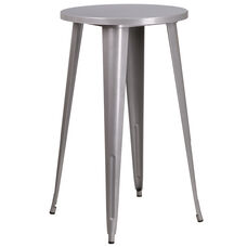 "Commercial Grade 24"" Round Silver Metal Indoor-Outdoor Bar Height Table"