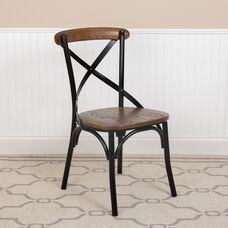 Advantage X-Back Chair with Metal Bracing and Fruitwood Seat