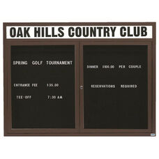 2 Door Indoor Enclosed Directory Board with Header and Bronze Anodized Aluminum Frame - 48