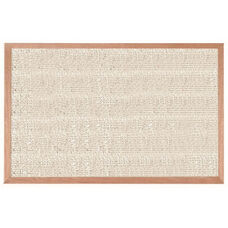 Burlap Weave Vinyl Bulletin Board with Red Oak Frame and Clear Lacquer Finish - Cement - 24