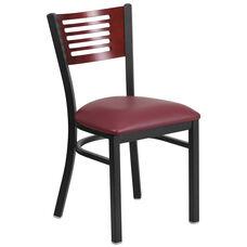 Black Decorative Slat Back Metal Restaurant Chair with Mahogany Wood Back & Burgundy Vinyl Seat