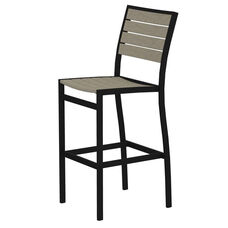 POLYWOOD® Euro Bar Side Chair - Textured Black / Sand
