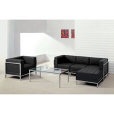 HERCULES Imagination Series Black LeatherSoft Sectional & Chair, 5 Pieces