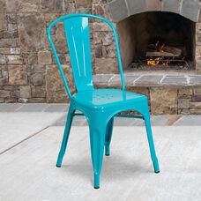 Commercial Grade Crystal Teal-Blue Metal Indoor-Outdoor Stackable Chair