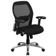 Mid-Back Black Super Mesh Executive Swivel Chair with Knee Tilt Control and Adjustable Arms