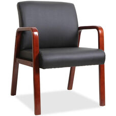 Lorell Mahogany Wood Frame Guest Armchair - Black Leather