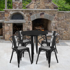 """Commercial Grade 30"""" Round Black Metal Indoor-Outdoor Table Set with 4 Arm Chairs"""