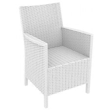 California Outdoor Wickerlook Resin Arm Chair - White