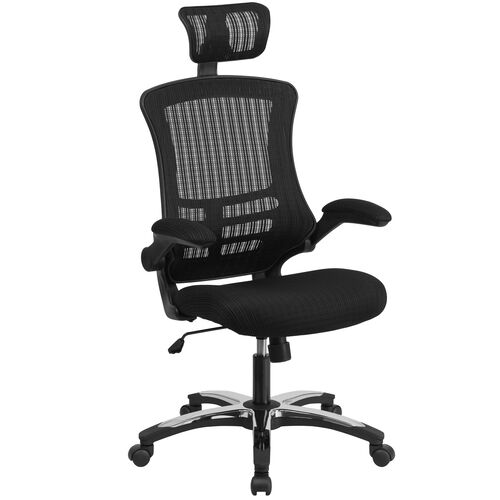Our High-Back Black Mesh Swivel Ergonomic Executive Office Chair with Flip-Up Arms and Adjustable Headrest, BIFMA Certified is on sale now.