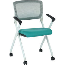 Space Pulsar Folding Chair with Breathable Mesh Back and Fabric Seat - Set of 2 - Jade