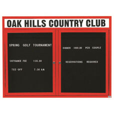 2 Door Outdoor Enclosed Directory Board with Header and Red Anodized Aluminum Frame - 48