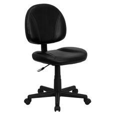 Mid-Back Black Leather Swivel Ergonomic Task Office Chair with Back Depth Adjustment