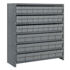 7 Shelf Closed Unit with 18 Large Drawers and 27 Small Drawers - Gray